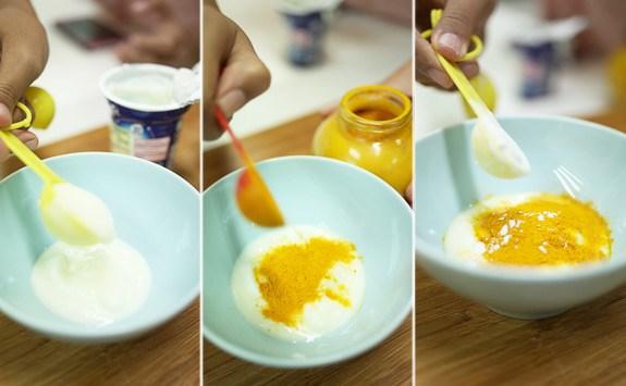 mặt nạ tinh bột nghệ sữa chua mật ong