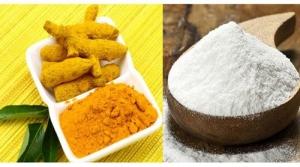 trị mụn bằng tinh bột nghệ và cám gạo